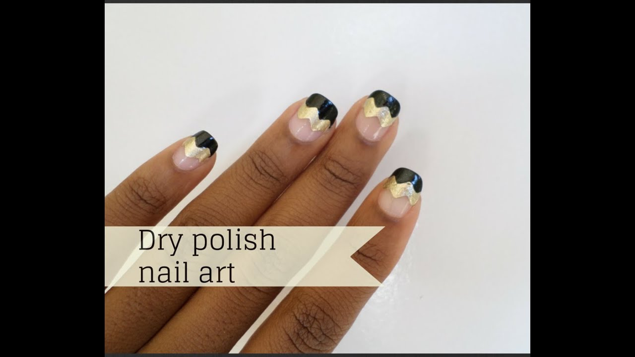Easy dry nail polish and craft scissors nail art - YouTube