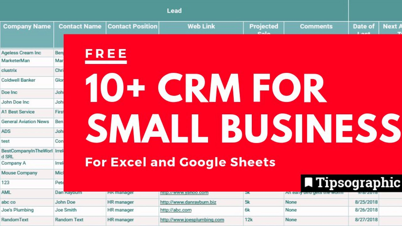 12 Crm For Small Business Free Excel Google Sheets Http Bit Ly 2x4bn1d