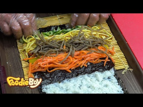 Spicy Raw Pollack Salad Kimbap / Korean Street Food / Sokcho Central Market, Sokcho Korea