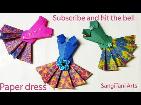 Easy #Origami Paper dress  (no glue)   #Prom dress   doll dress ~#diy