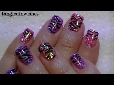 starry zebra acrylic nails