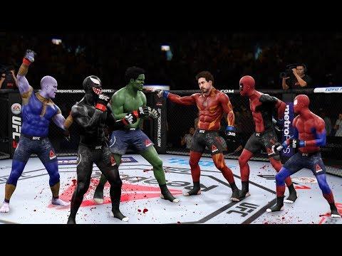 Самый НЕВЕРОЯТНЫЙ ТОП НОКАУТОВ ГЕРОЕВ МАРВЕЛ в UFC 3 /Веном Дедпул Халк Танос Человек-Паук