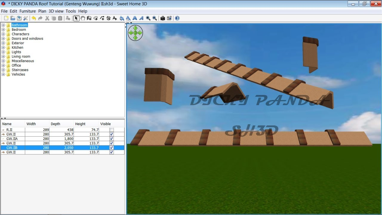 Sweet Home 3d Roof Tutorial Cara Membuat Genteng Wuwung 02 Youtube