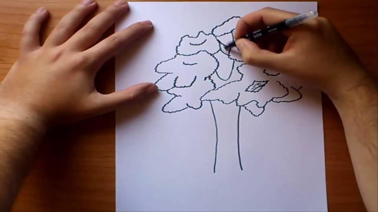Como dibujar un arbol paso a paso 2  How to draw a tree 2  YouTube