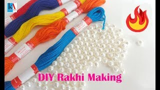 How to make thread Rakhi using pearls at home in 5 minutes for rakshabandhan