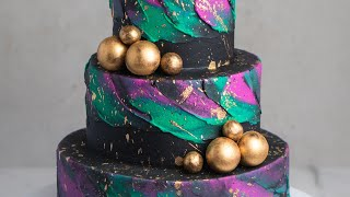 How To Create A Galaxy Tiered Cake with Buttercream- Rosie's Dessert Spot