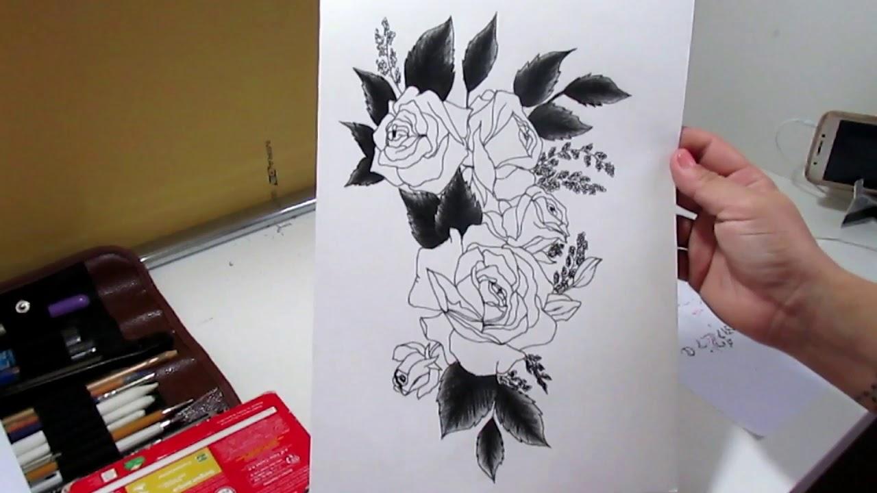 Desenhando Rosas Cover Up Desenho Sombreado Rosas Para Cobertura