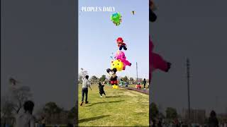 Chinese man almost taken away by the kites he is flying!