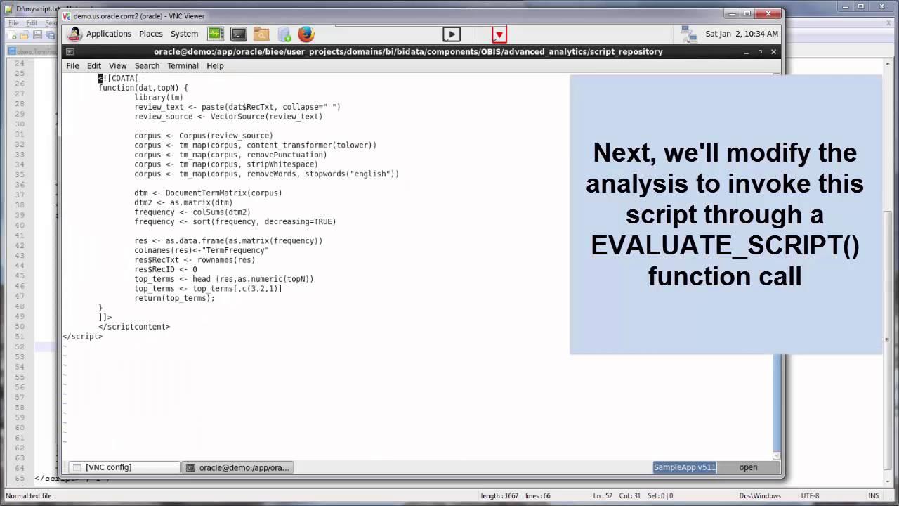 OBIEE 12 2 1 - Advanced Analytics : Register custom R script (Text Term  Frequency)