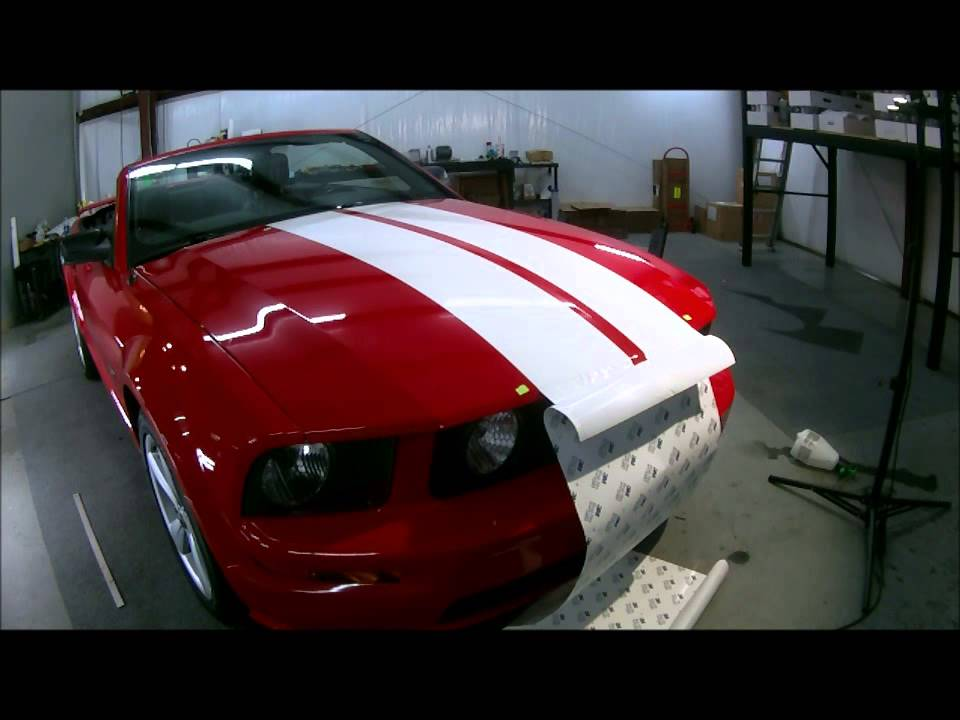 Auto Armor Of Asheville 2005 Red Mustang Convertible Gets White Racing Stripes You