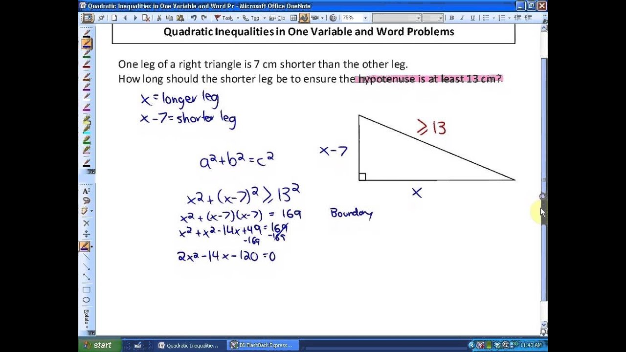 9.2: part 2, lesson 1 (Word Problems and Quadratic Inequalities on ...