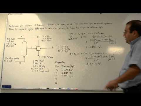 Balance de materia a flujo continuo sin reacción química, problema de examen