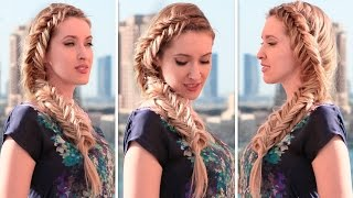 французская коса колосок, рыбий хвост  Причёска на каждый день в стиле Эльзы, Холодное Сердце