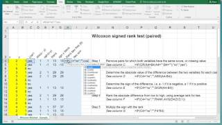 Excel - Wilcoxon signed rank test paired