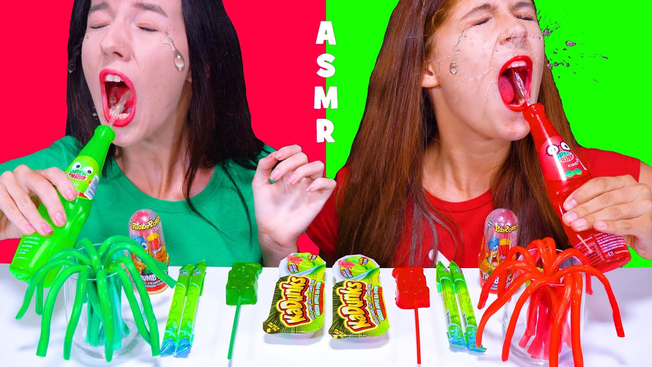Red VS Green Candy Mukbang | Twist and Drink, Gummy Bear, Jelly Straws