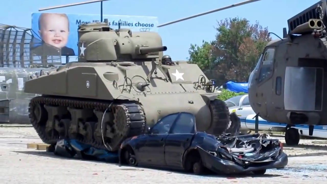 wwii m4 sherman tank crushing car youtube. Black Bedroom Furniture Sets. Home Design Ideas