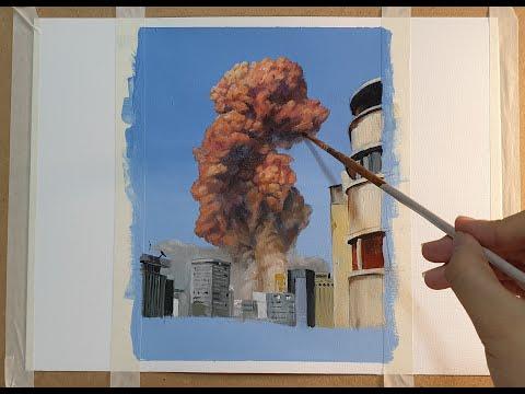 Lebanon explosion (2020.8)  oil painting