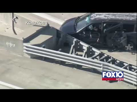 Live aerials over a police pursuit in the Los Angeles, California, area.