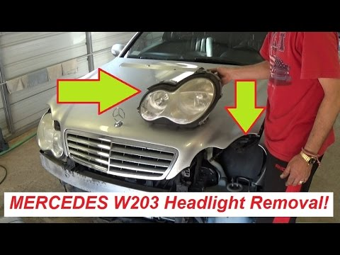 Mercedes w203 Headlight Removal and Replacement  C160 C180 C200 C230 C240 C270 C320