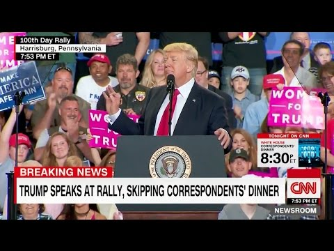 """CNN Sucks"" Chant by Crowd at Trump First 100 Days Rally"