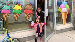 Sally buy ice Cream from a real ice Cream Store!! family fun vlog