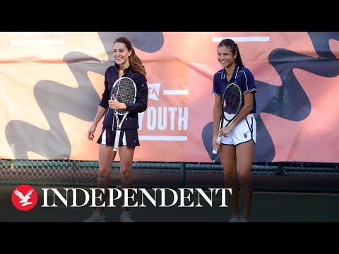 Kate Middleton hits the court with Emma Raducanu as US Open tennis champion welcomed home