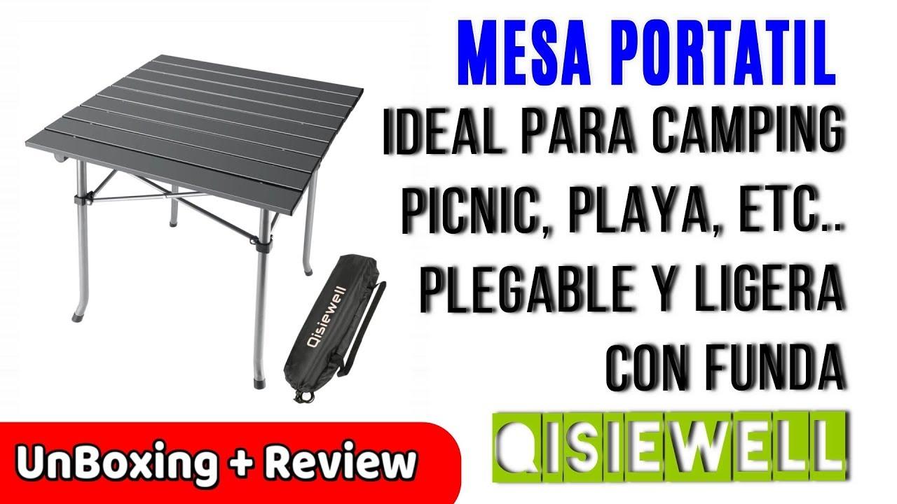 Mesa de camping plegable de aluminio con superficie de MDF y bolsillo Homecall