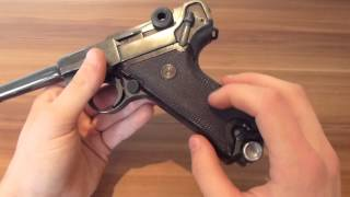 WW1 1918 German P08 Luger 9mm parabellum pistol short review (Deactivated)