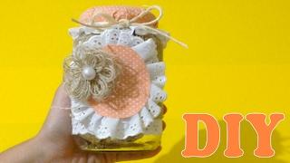 Decoração com Potes de Vidro : Tecido e Fitas – DIY Artesanato