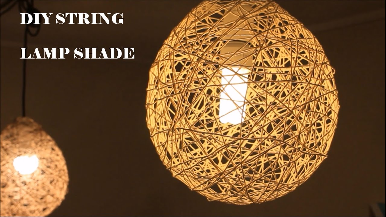 DIY Lampshade with cotton thread or twine - YouTube