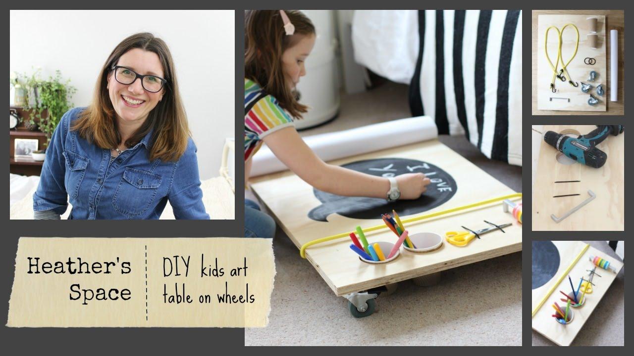 DIY kids art table on wheels   Heather\'s Space