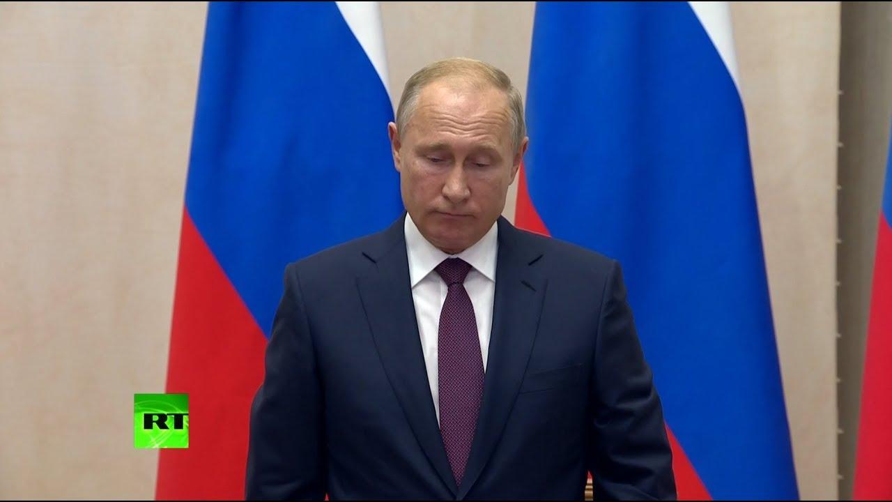 Путин начал пресс-конференцию с минуты молчания в память о погибших в Керчи