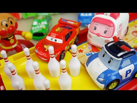 Thumbnail: Robocar Poli car toys and Bowling game with cars truck and surprise eggs play