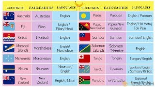 Oceania Countries with Languages, Nationalities and Flags