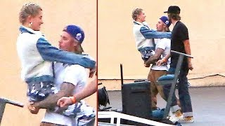 exclusive justin bieber and hailey baldwin show heavy pda on dj khaled music video set