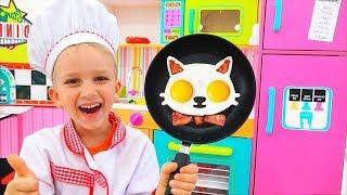 Vlad e Nikita cozinhando o café da manhã para mamãe