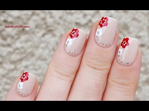 Dotting Tool Toothpick Nail Art Red White Flower Nails Youtube