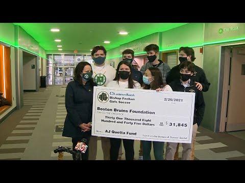 Girls soccer team raises nearly $32,000 for family of injured Massachusetts HS hockey player