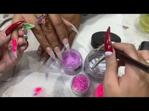 3 color acrylic Swarovski stones nail tutorial