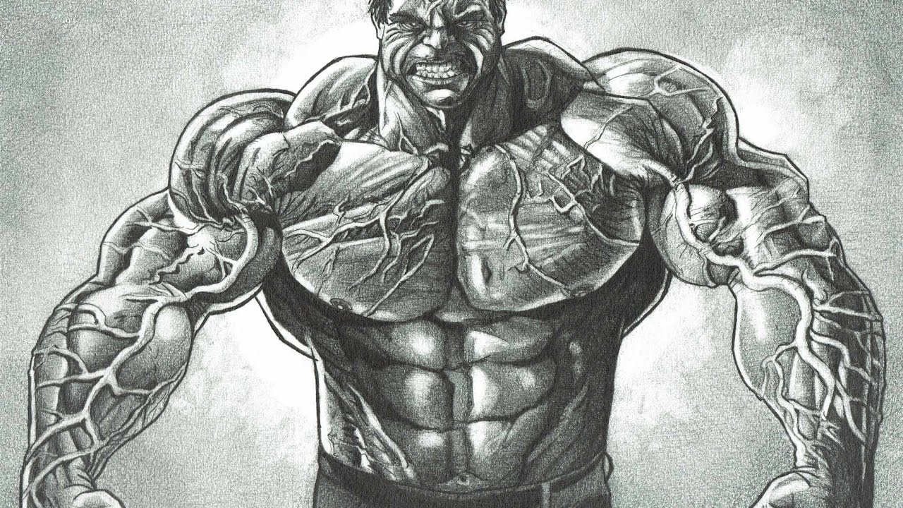 Realistic hulk a dredfunn mechanical pencil drawing