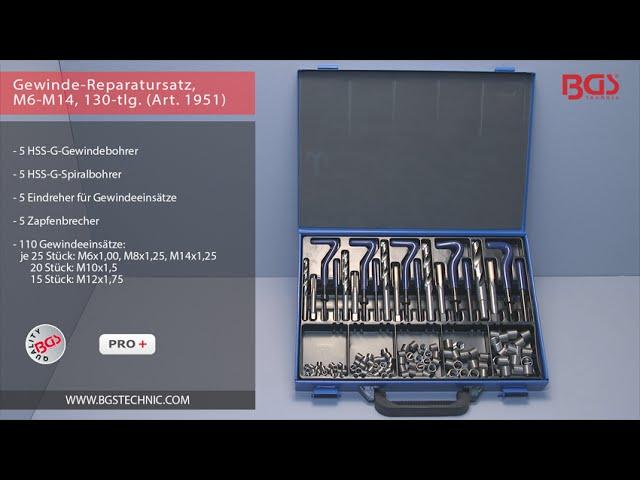 BGS Gewinde-Reparatur-Satz M5-12 130-tlg Gewindewerkzeuge Gewindehülsen erneuern