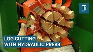 Hydraulic Log-Splitter Cuts Wood With Ease
