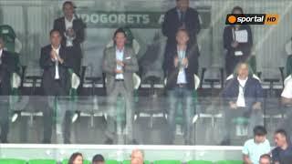 Виктор Орбан и братя Домусчиеви в ложата за мача в Разград