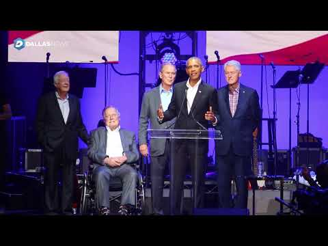 Former Presidents Bill Clinton and Barack Obama speak at Harvey relief concert