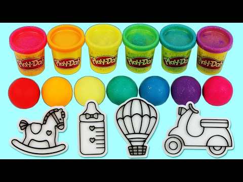 Learn Colors Play Doh Modelling Clay Baby Milk Bottle, Popsicle Cookie Cutter Slime Surprise Toys