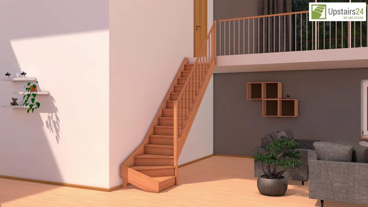 escalier en bois massif en kit savoy 1 4 tournant contremarches rampe upstairs24 youtube. Black Bedroom Furniture Sets. Home Design Ideas