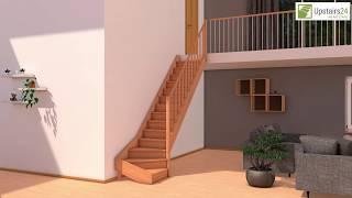 Vidéo: Escalier en bois Savoy: 1/4 tournant, contremarches, rampe [SY8]