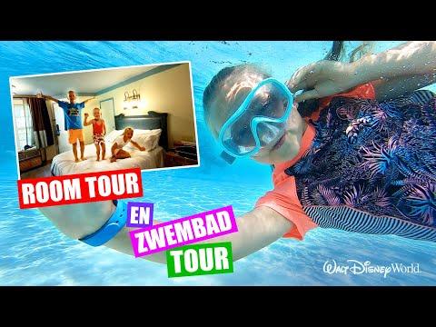 ROOM TOUR en ZWEMBAD TOUR in ons DISNEY HOTEL! [VLOG 4] ♥DeZoeteZusjes♥