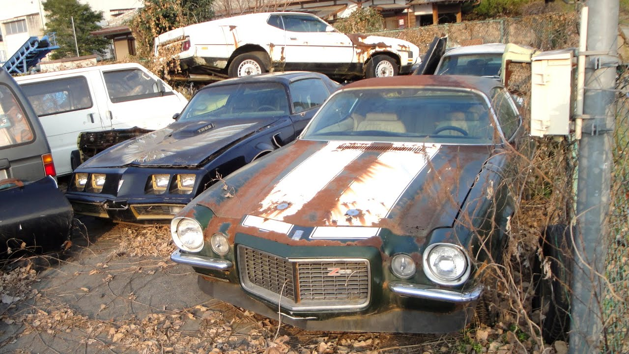 Abandoned In Japan American Muscle Car Junkyard Split Bumper Z28 429 Mach 1 Mustang Youtube