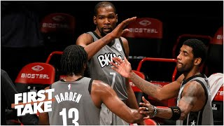 What happens when Kevin Durant is back in the mix with James Harden and Kyrie Irving? | First Take